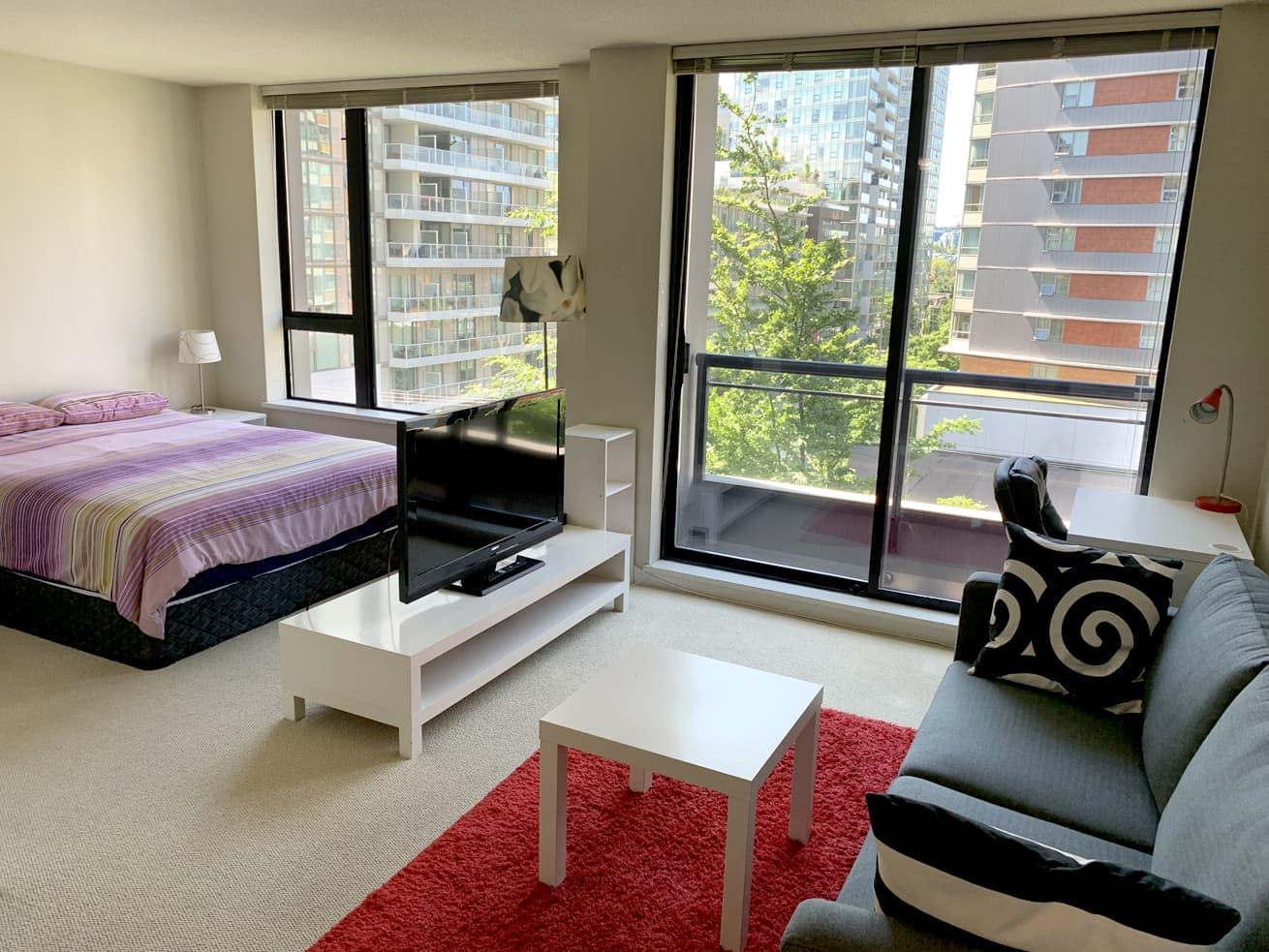 Vancouver condo rentals oscar studio living room