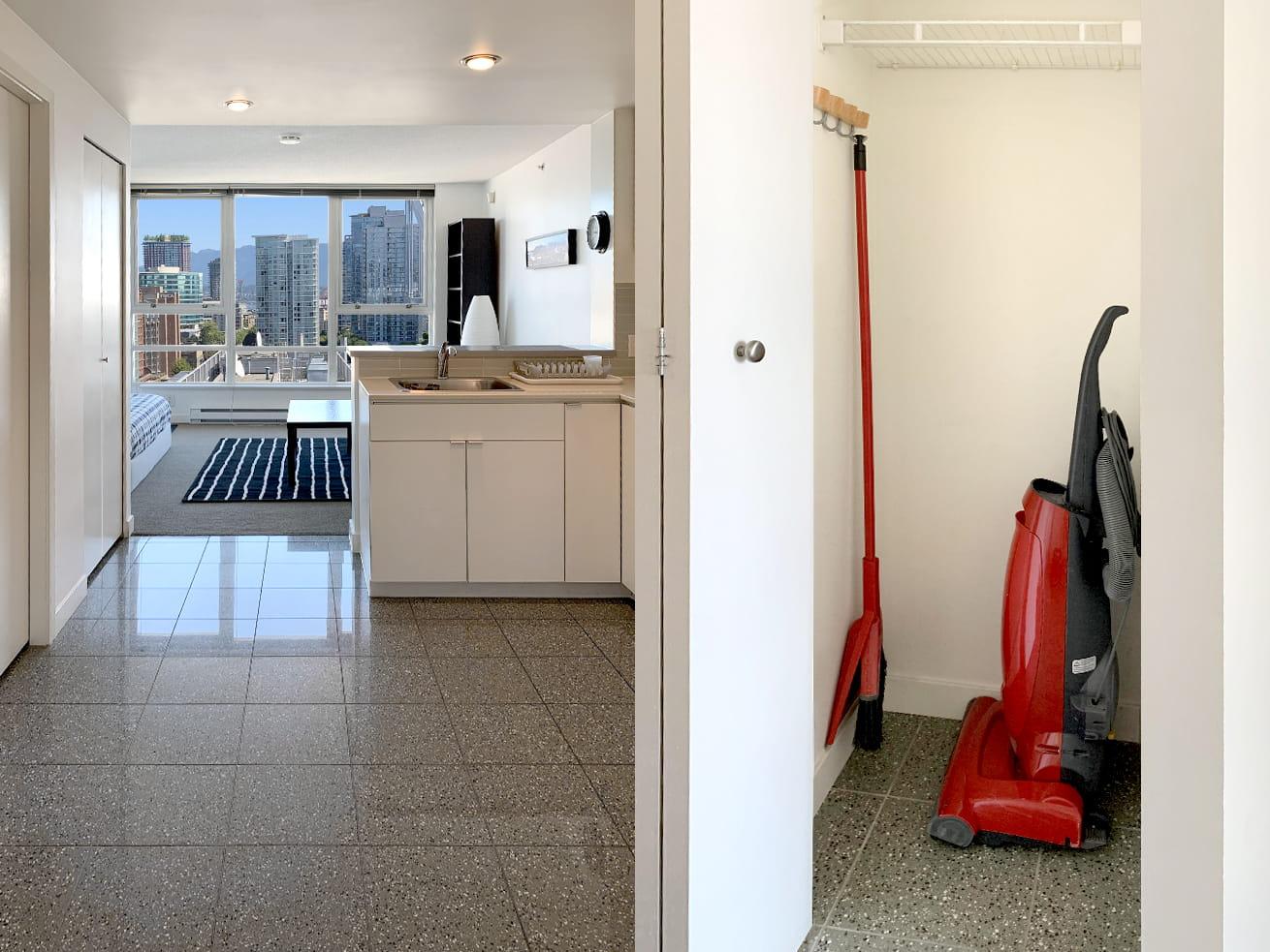 Vancouver apartment rentals max studio den entrance closet